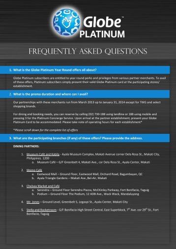 FREQUENTLY ASKED QUESTIONS - Globe