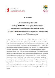 Labour and the global crisis sharing the burden (!) shaping the future