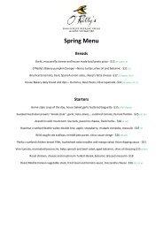 Spring Menu Breads - O'Reilly's Rainforest Retreat