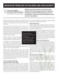 Behaviour Problems in Children and Adolescents - Children's ...