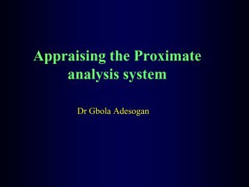 Appraising the proximate analysis system
