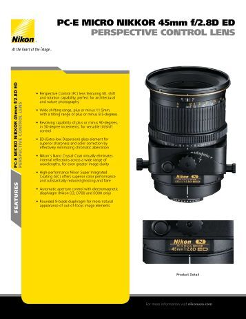 PC-E MICRO NIKKOR 45mm f/2.8D ED Sell Sheet