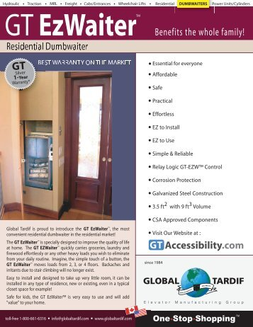 GT EzWaiter - Global Tardif Groupe manufacturier d'ascenseurs