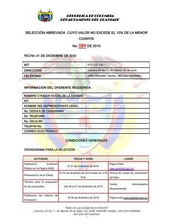 LICITACION PUBLICA No ______ - Gobernación del Guaviare