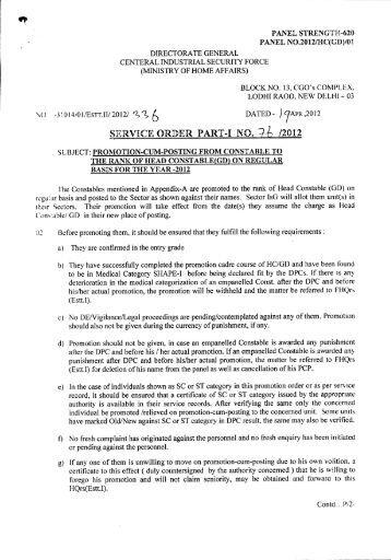 SERVICE ORDER PART-I NO. ]-b /2012 - CISF