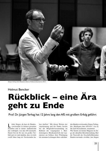 Rückblick – eine Ära geht zu Ende (Helmut Bencker) Prof. Dr ...