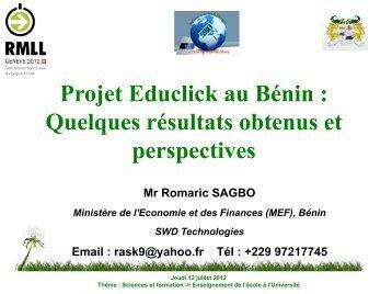 Projet Educlick au Bénin : Quelques résultats obtenus et perspectives