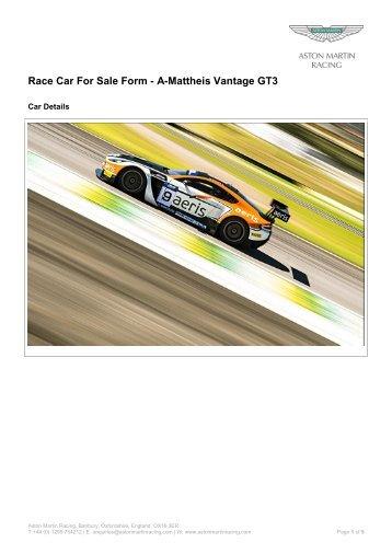 Race Car For Sale Form - A-Mattheis Vantage GT3 - Aston Martin