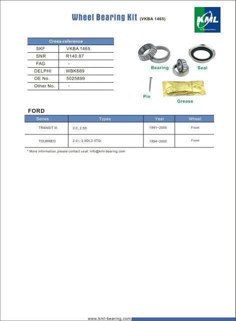 Wheel Bearing Kit - KML Bearing and Equipment Ltd.