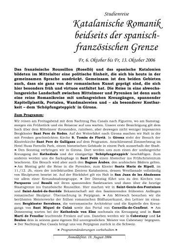 Katalanische Romanik beidseits der spanisch - Verein Kunst und ...