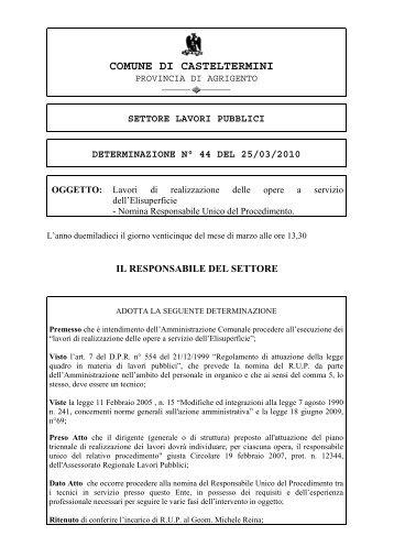 settore lavori pubblici determinazione n° 44 del 25/03/2010