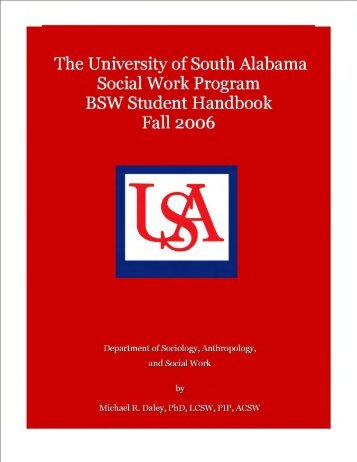 SCHOOL OF SOCIAL WORK: - University of South Alabama