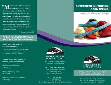 Outpatient nutritiOn COunseling - New London Hospital