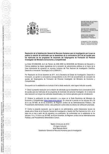 Resolución Desestimados Ayudas Matriculas Doctorado Ayudas FPI ...