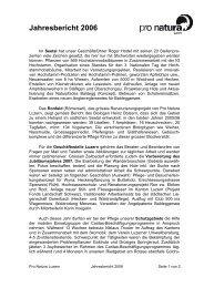 Jahresbericht 2006 - Pro Natura Luzern