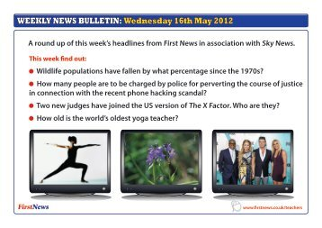 WEEKLY NEWS BULLETIN: Wednesday 16th May 2012 - First News