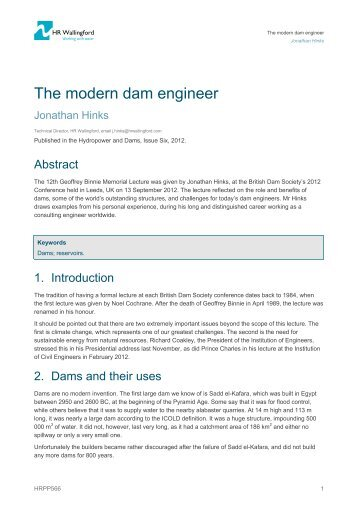 The modern dam engineer - ePrints at HR Wallingford