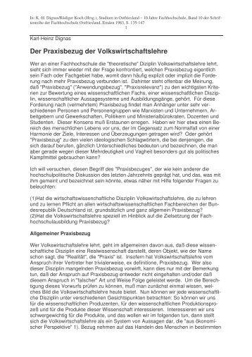 Praxisbezug der VWL - Karl-Heinz Dignas