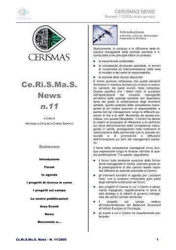Newsletter numero 11 - Ce.Ri.S.Ma.S.