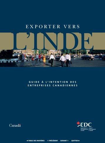 Exporter vers l'Inde - Guide à l'intention des entreprises Canadiennes