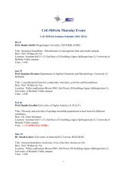 CoE-MiFoSa Thursday Events