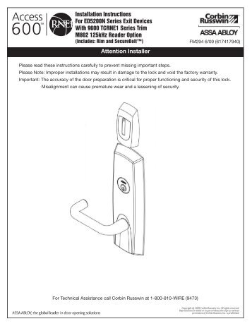 Manufacturer 39 s template for access 600 rne1 exit device for Corbin russwin templates