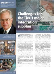 Challenges for the Tier 1 major integration supplier ... - SAE