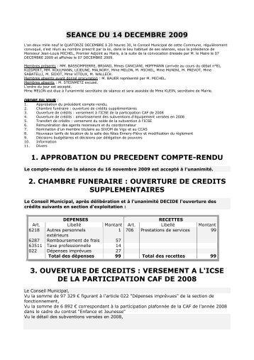 seance du 14 decembre 2009 1. approbation du precedent ... - Ennery