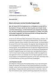 Strom wird teurer - Wirtschaftsraum Bern