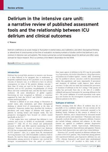 Delirium in the intensive care unit: a narrative review of ... - JICS