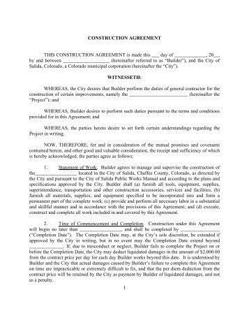 1 CONSTRUCTION AGREEMENT THIS ... - City of Salida