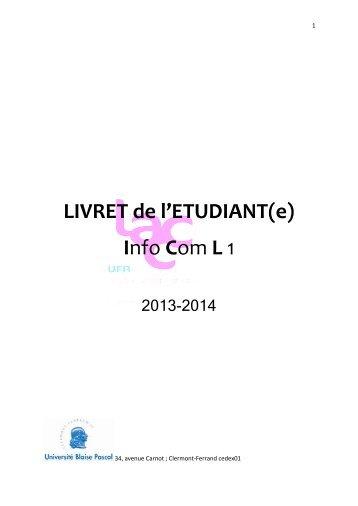 Livret L1 Infocom 2013/2014 - UFR Langues Appliquées ...