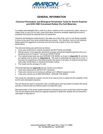 CHEMICAL PERMEATION TEST RESULTS - Amron International Inc.