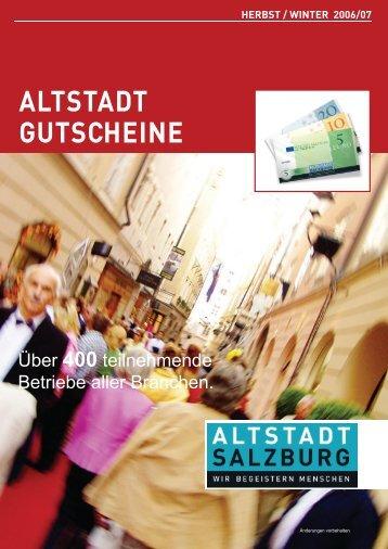 Hier erhalten Sie die Altstadt Gutscheine - Altstadt Salzburg