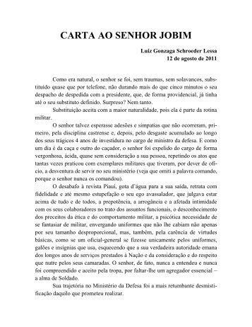 CARTA AO SENHOR JOBIM - Academia Brasileira de Defesa