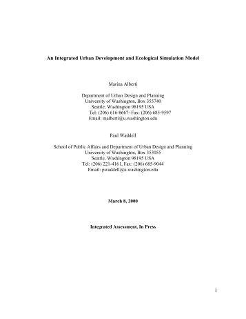 An Integrated Urban Development and Ecological ... - UrbanSim
