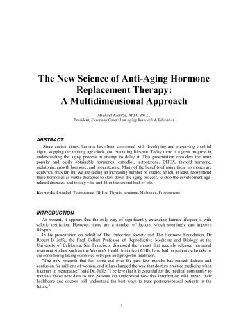 The New Science of Anti-Aging Hormone ... - Worldhealth.net