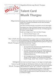 Talent Card Musik Thurgau - Musikschulen Thurgau