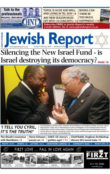 Silencing the New Israel Fund - South African Jewish Report