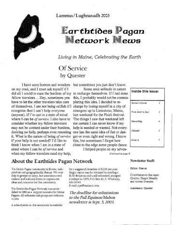Lammas 2003 - EarthTides Pagan Network