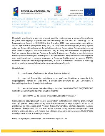 Obowiązki Beneficjenta w zakresie działań informacyjnych i ...