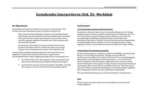 Gestaltendes Interpretieren Checkliste Heinrich Von Gagern