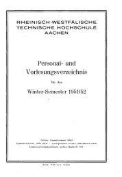 Personal- und Vorlesungsverzeichnis - Hochschularchiv der RWTH ...