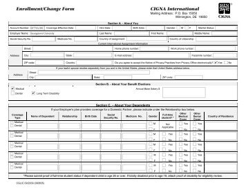 Enrollment/Change Form CIGNA International - Georgetown University