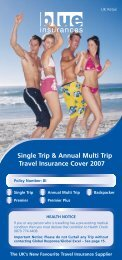 Single Trip & Annual Multi Trip Travel Insurance ... - Blue Insurances
