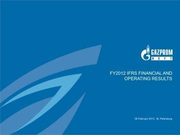 Presentation 12m 2012 - JSC Gazprom Neft