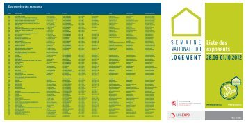 Plan et liste des exposants (pdf - 510 Ko) - Ministère du logement