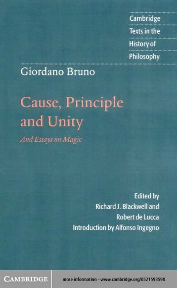 giordano bruno essays on magic Giordano bruno cause principle and unity and essays on magic cambridge texts in the history of philosophy document about giordano bruno.