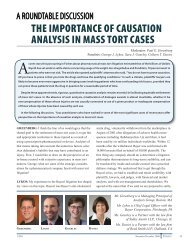 the importance of causation analysis in mass tort ... - Analysis Group