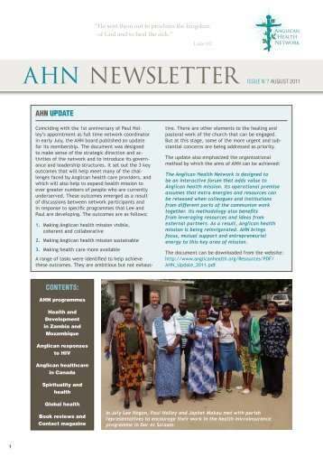 AHN Newsletter Issue N˚7 August 2011 - Anglican Health Network